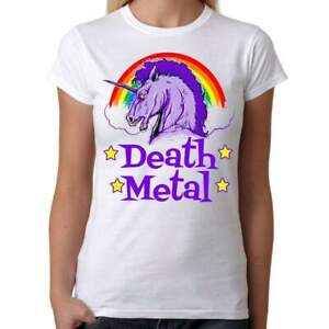 Death-Metal-Unicorn-Womens-White-T-Shirt-Geek-Retro-Fun-Kitsch-Cute