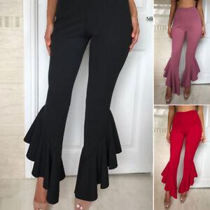 5b1ba07dba374 Details about Women Retro Boho High Waist Long Trousers Ruffles Flare Bell  Bottom Casual Pants