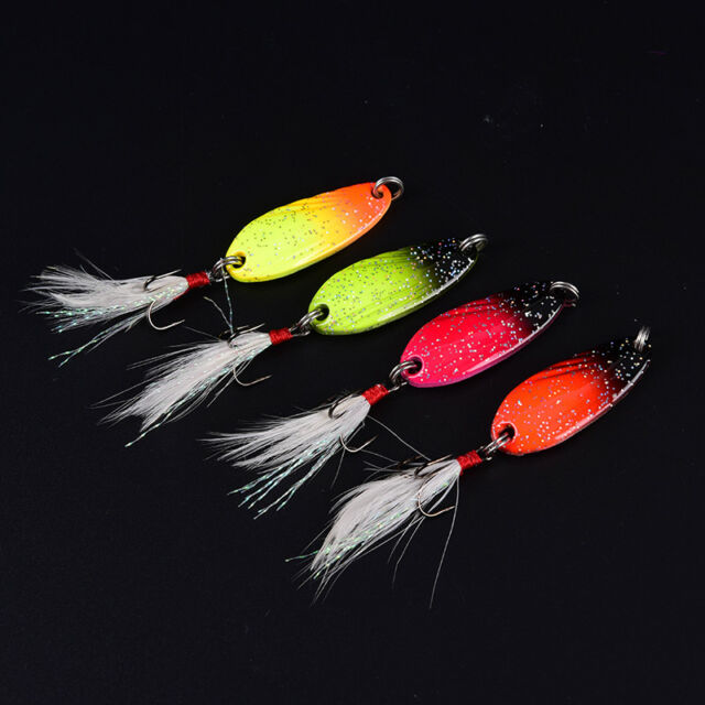 metal spinner spoon fish lure hard baits sequins noise paillette with feather HU