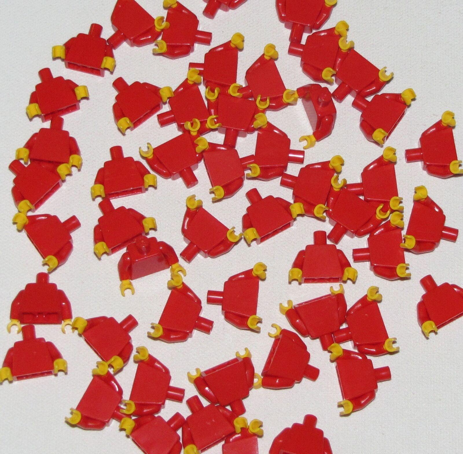 LEGO LOT OF 50 NEW PLAIN RED MINIFIGURE TORSOS TORSOS SHIRTS YELLOW HANDS CITY