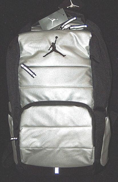 6d914170444 NWT  65 Nike Air Jordan Jumpman Silver   Black Laptop School Bag Backpack  NEW