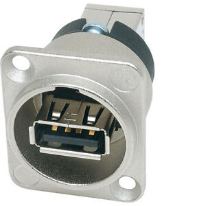 Neutrik-Reversible-Changer-USB-A-Panel-Mount-Connector-Socket-Gender-Changer