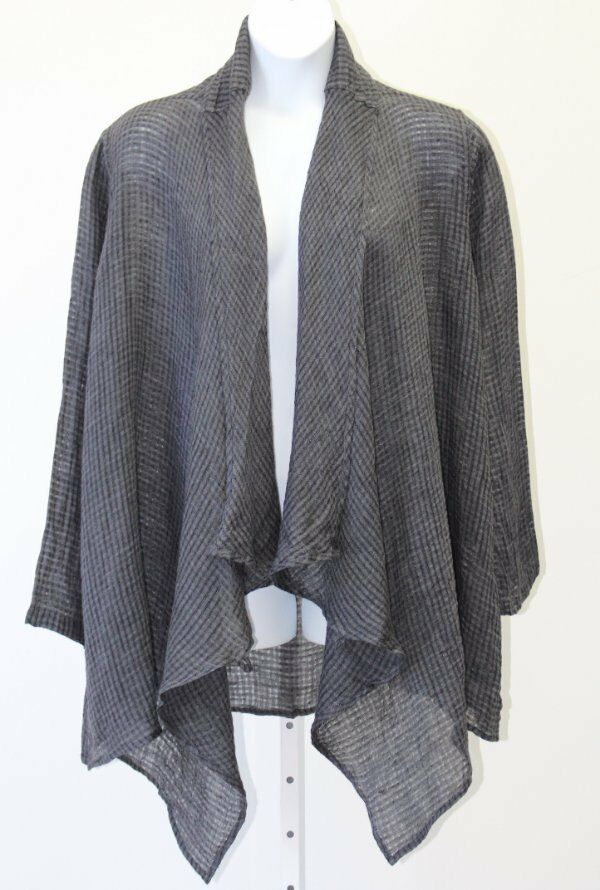 Flax Designs Congreenible Wrap NWT   Shark Shark Shark Windowpane Linen Gauze   Size Large 2f7847