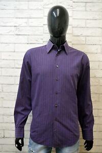 HUGO-BOSS-Camicia-a-Righe-Uomo-Taglia-40-M-Maglia-Camicetta-Chemise-Shirt-Man