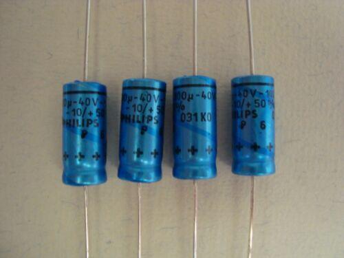 capacitors Philips 4 Elkos 100uF 40V Kondensatoren NOS axial
