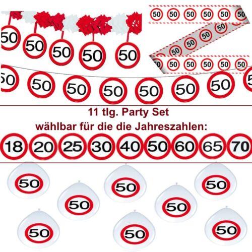 11 tlg Party Verkehrsschild Deko Set Geburtstag 18.20.25.30.40.50.60.65.70.
