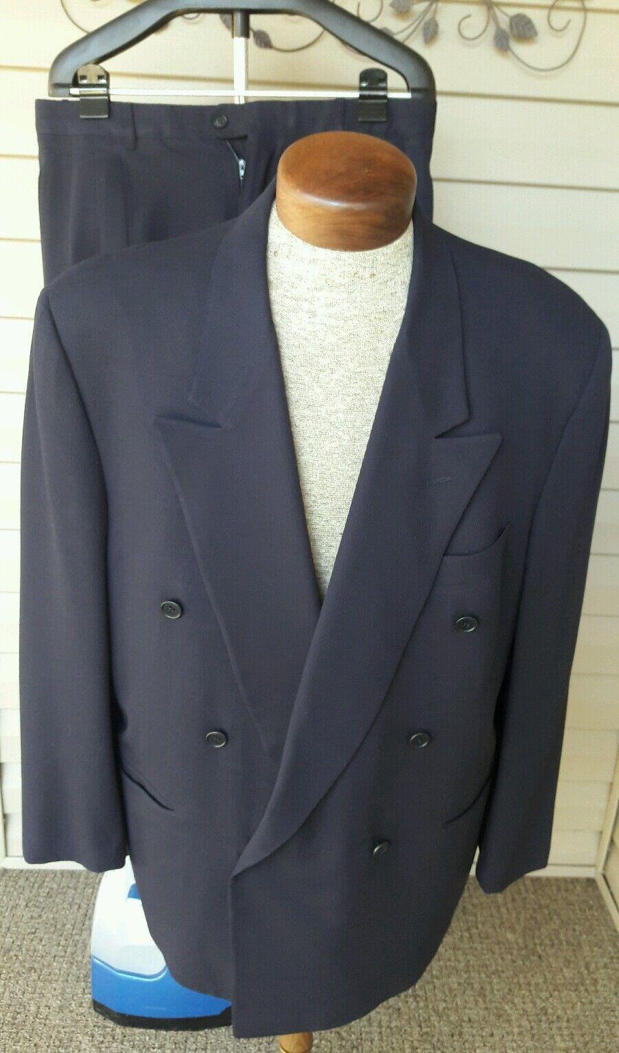 Pal Zileri Suit Double Breasted Blau Suit Peak Lapel EU 56 US 44 Reg Wool Nylon