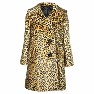 donna 14 da Size Faux 12 Coat Fur Giacca Uk Leopard Topshop Animal Print w7OqSt