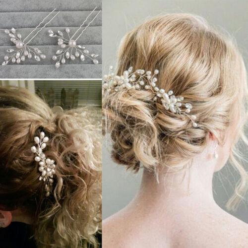Haarnadeln Strass Perlen Brautschmuck Haarspangen Haarklemme für Hochzeit ro