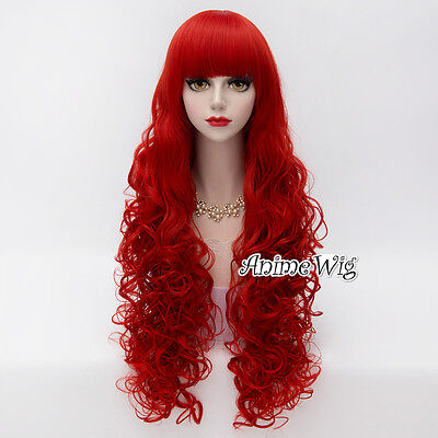 Lolita 80CM Long Wine Red Curly Hair Women Popular Hot Cosplay Wig + Wig Cap