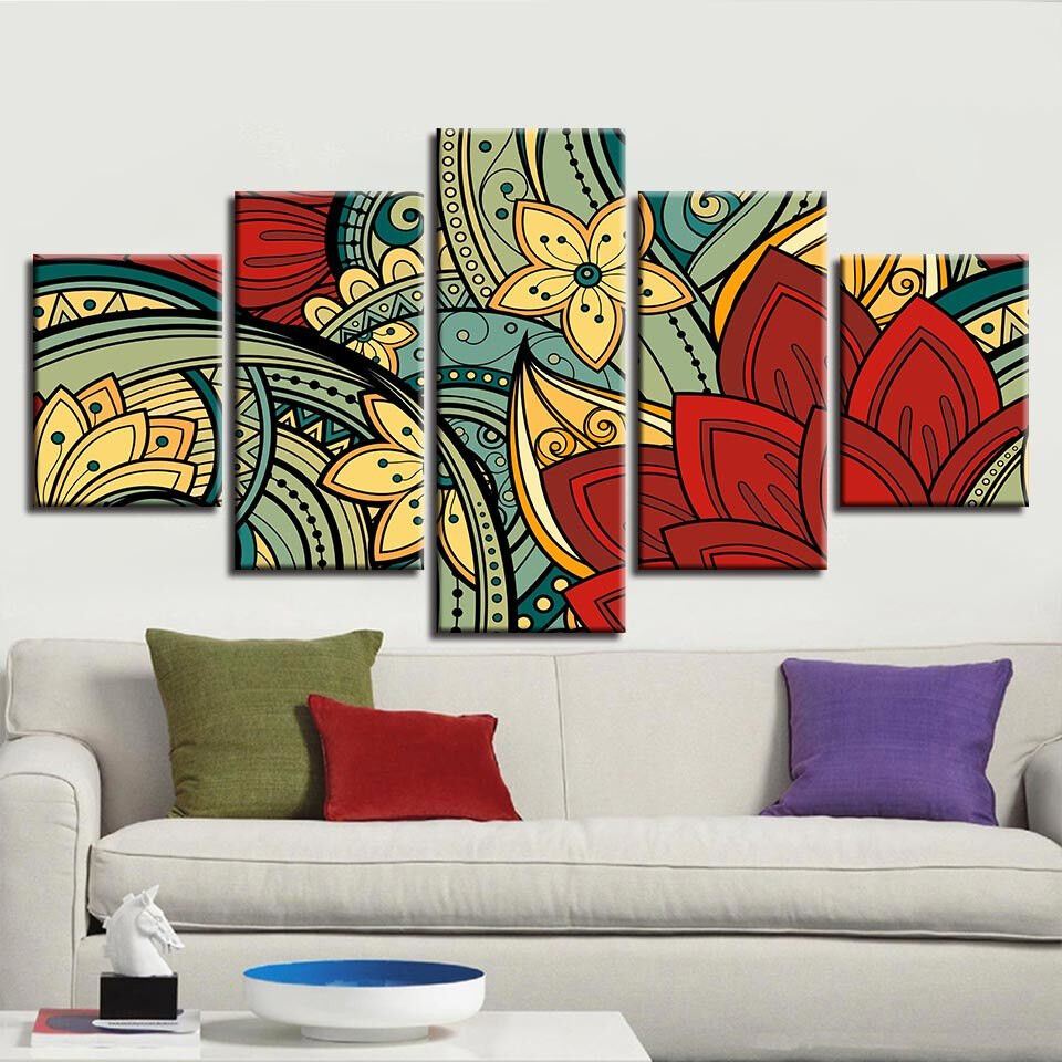 Abstract Farbeful Flowers Painting 5 Panel Canvas Print Wall Art