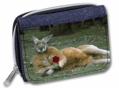 Kangaroo with Red Rose Girls//Ladies Denim Purse Wallet Christmas Gift I AK-1RJW