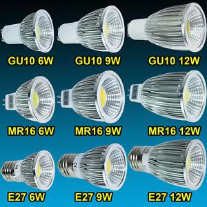 Dimmable MR16/GU10/E27 6W/9W/12W LED COB Ampoule Lampe Spot Lumière Downlight