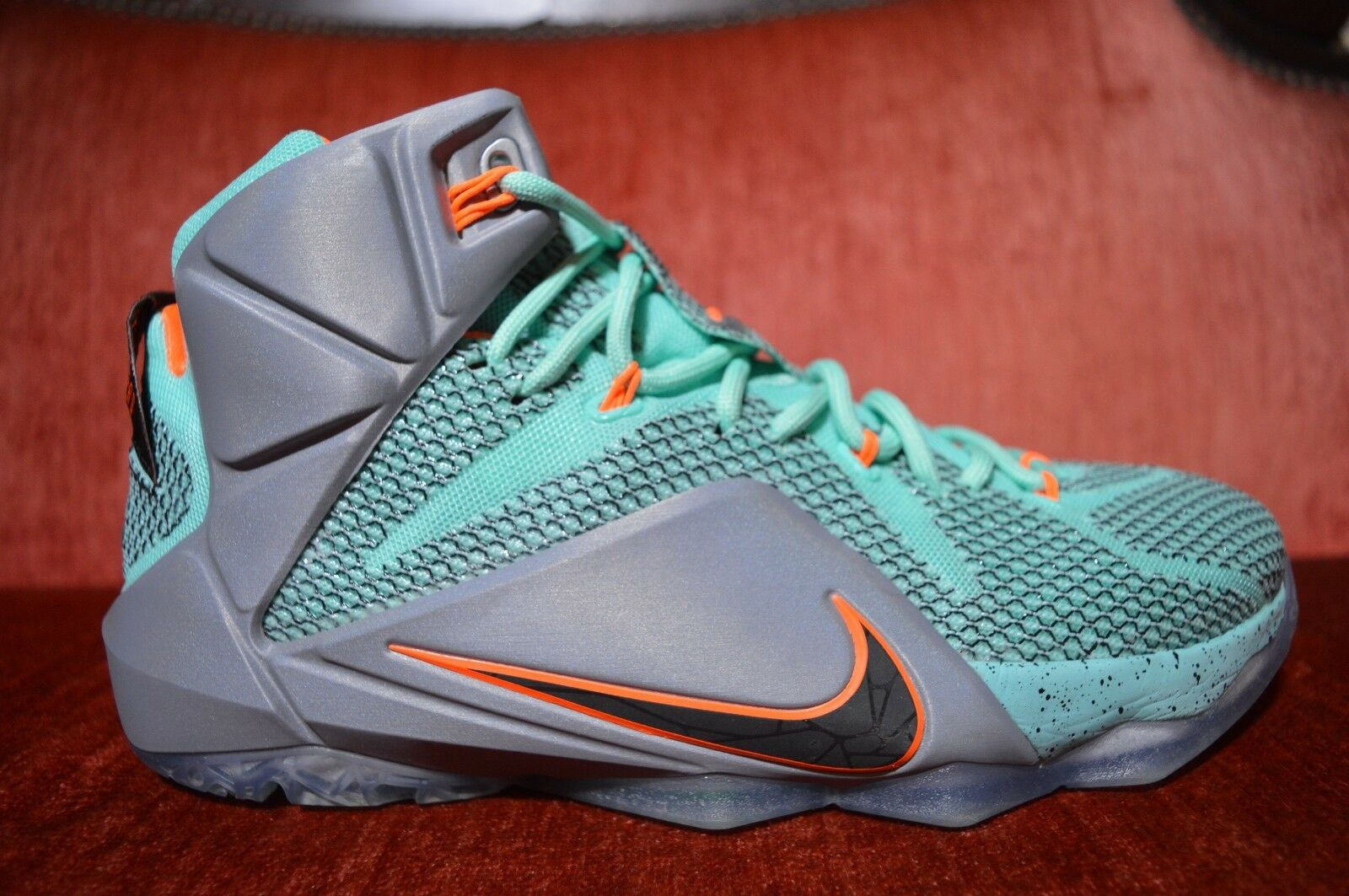Nike Lebron XII 12 NSRL Miami Dolphins Black Grey Turquoise Size 8.5 684593-301