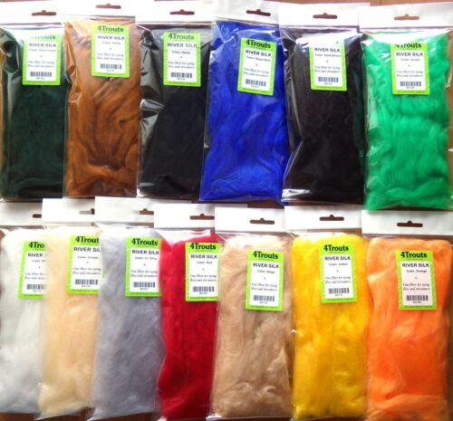 Fliege Streamer-Material viel 16 Farben PSEUDO MARABOU Feinfaser RIVER SILK