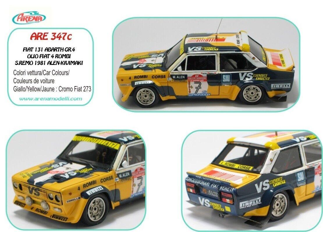 Hay más marcas de productos de alta calidad. kit Fiat 131 Abarth Abarth Abarth Gr.4 Olio Fiat 4 Rombi  7 Rally Sanremo 1981 Arena kit 1 43  tienda en linea