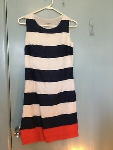 Laura-Ashley-navy-and-white-stripped-dress-with-red-in-size-6