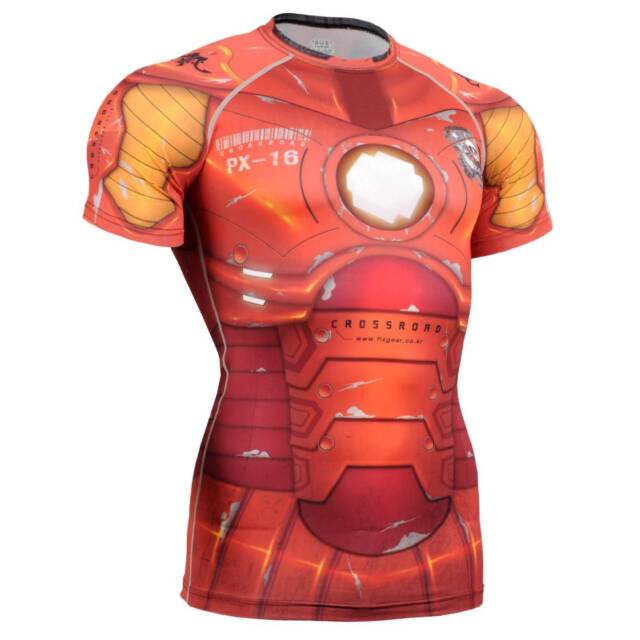 FIXGEAR CFS-8 Compression Base Layer Short Sleeve Shirts, Workout Fitness MMA
