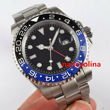 40mm Parnis black blue ceramic bezel Sapphire Glass GMT Automatic Date Watch D8