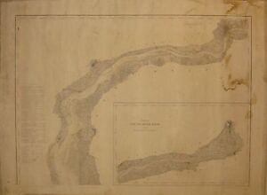 Rare Antique 1848 Delaware River Us Coast Survey Nautical Map