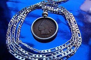 """pre 1907 Indian Head Penny Pendant 28/"""" 925 Sterling Silver Snake Chain"""