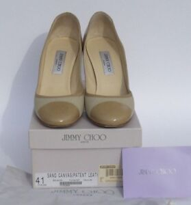 72b42c7fca Image is loading JIMMY-CHOO-Belgium-Sand-Beige-Canvas-Patent-Leather-