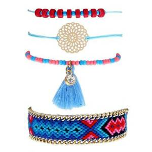 Women-Tassel-Beads-Cuff-Bangles-Adjustable-Beaded-Weave-Bracelet-Jewelry-Set-New
