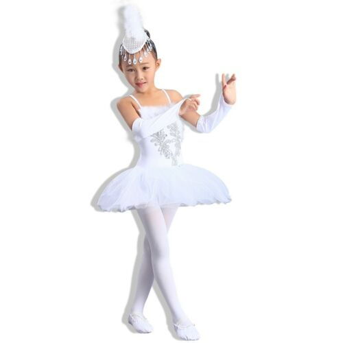Girls Dancewear White Ballet Dress Kids Stage Tutu Skirt Delicate Dancing Outfit