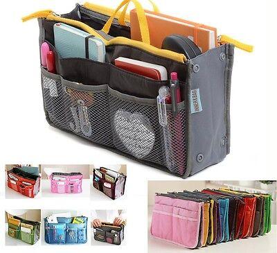 Women Travel Handbag Insert Dual Zip Organizer Purse Large Liner Bag in Bag