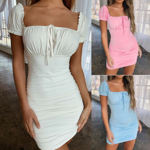 Women Summer Solid Square Neck Short Sleeve Lace Up Ruched Bodycon Mini Dress