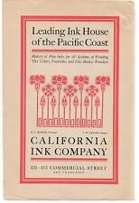1910 Advertisement for the California Ink Company Fine Inks San Francisco CA