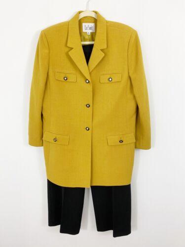 LE SUIT Pants Suit Size 16 Mustard Yellow Black Bu