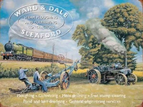 Steam Traction Engine Farm Ploughing Vintage Small Metal Tin Sign Ward /& Dale