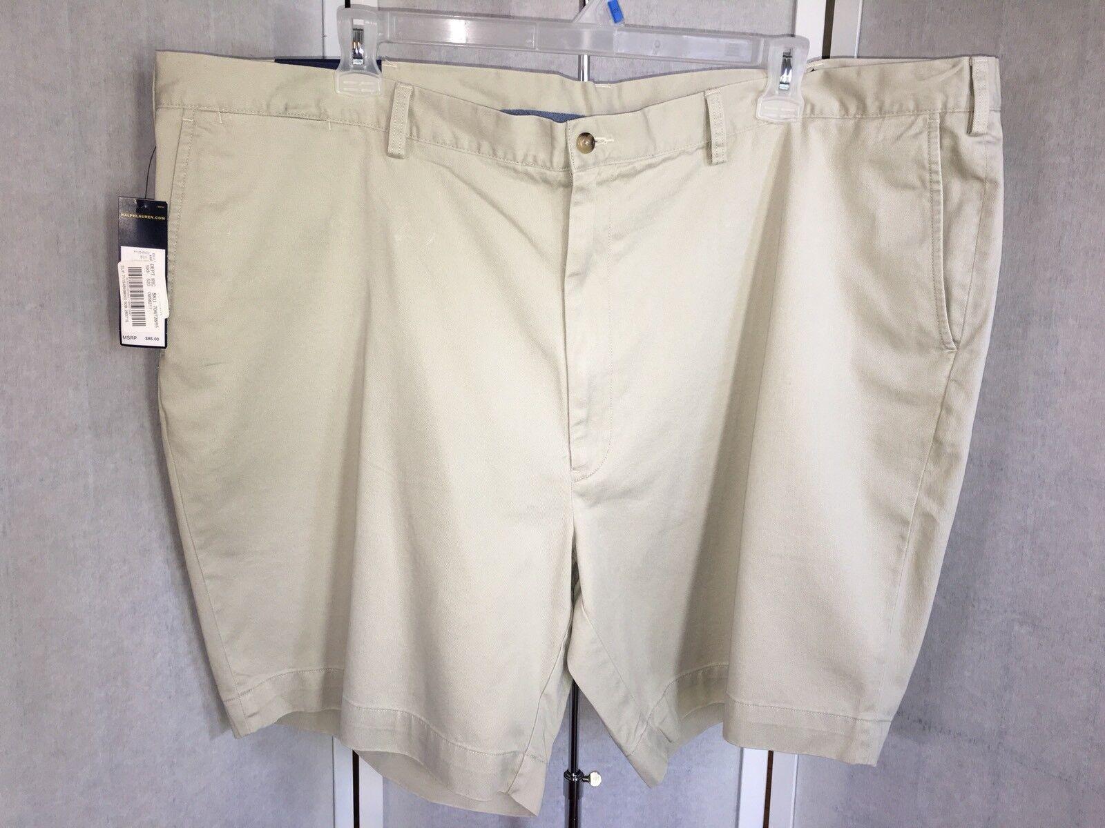 Polo Ralph Lauren Big Men's Size 50 Khaki bluee Label Flat Classic Fit Shorts NWT