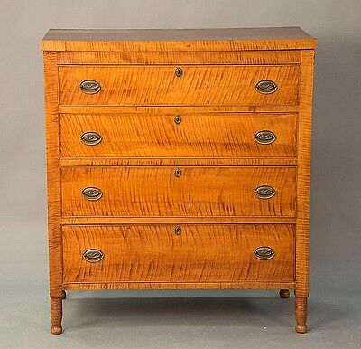 Sheraton tiger maple chest of four drawers on turned legs.Rht. 45 3/4... Lot 234
