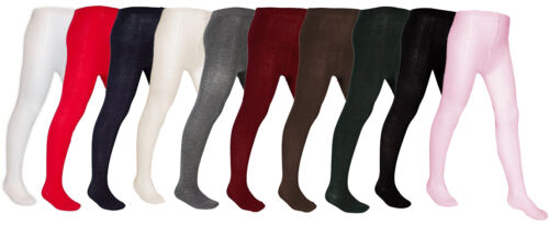 NEW *2 PAIR VALUE* GIRLS KIDS PLAIN KNITTED NIFTY BACK TO SCHOOL WARM TIGHTS