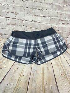 LULULEMON-Checkmate-Short-Size-8-Coal-White-Check-Plaid-Speed-Times-Speed