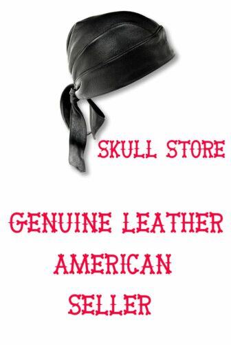 Black Premium Genuine Solid Leather Motorcycle BIKER Skull Cap Doo du do Rag Hat