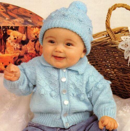 DK Tejer patrón Baby/'s Bobble y Diamante chaqueta y sombrero conjunto 218