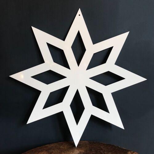 Lrg 35cm White Gloss Metal Snowflake 8 Point Star Hanging Garden Xmas Decoration