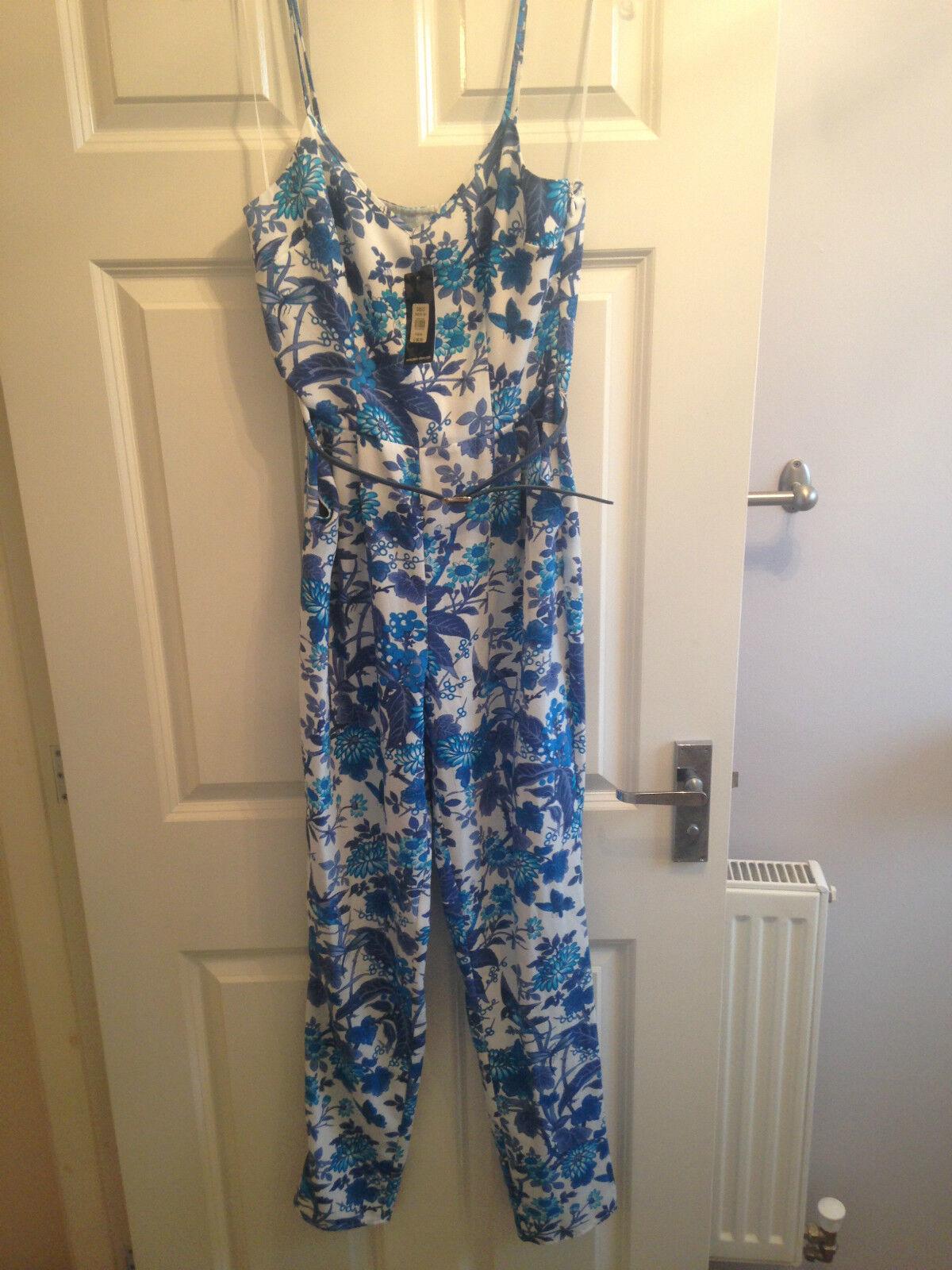 BNWT  OASIS BUTTERFLY FLOWER blueE WHITE CAMI STRAPPY JUMPSUIT BELT