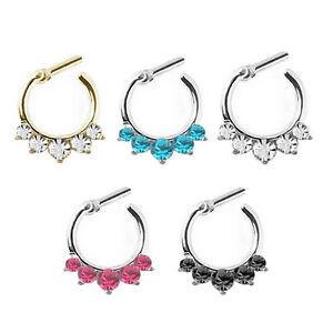 Fancy-Women-Crystal-Septum-Clicker-Hanger-Nose-Ring-Non-Piercing-Body-Jewelry-FT