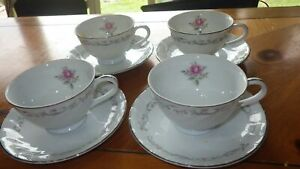 Royal-Swirl-Cups-and-saucer-sets-4-cups-4-saucers-Fine-China-of-Japan-EUC