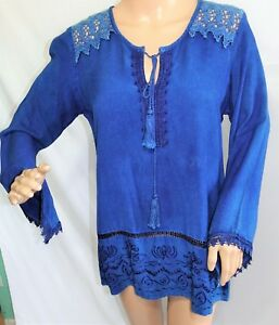 STUDIO WEST WOMEN PLUS 1X 3X DENIM BLUE GYPSY TOP BLOUSE SHIRT TUNIC W TASSELS