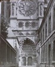 Central Portal, Notre-Dame de Reims Cathedral, France, Magic Lantern Glass Slide