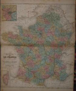 SûR 1856-big Postal Map Of France-colored-original-62x52 Cool En éTé Et Chaud En Hiver