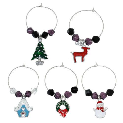 5 MIXED ENAMEL CHRISTMAS WINE GLASS CHARM RINGS~Tree~Wreath~Snowman~House WGC4