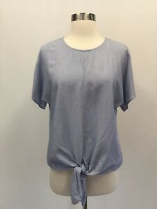 223b7442af New Madewell Button-back Tie Tee in Stripe Top Soft Twilight Blue Sz ...