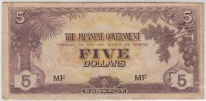 Mazuma *M1348 Malaya Japanese WWII JIM 1942 $5 MF GVF