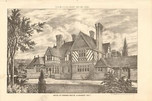 Surrey House At Virginia Water Durable Modeling 1875 Antique Print Architecture